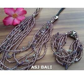 necklaces bracelet set of beads stone multiple strand purple