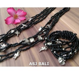 necklaces bracelets beads sets stretching charm black