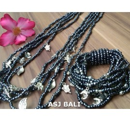 necklaces bracelets beads sets stretching charm clear black