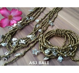 necklaces bracelets beads sets stretching charm gold