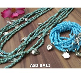 necklaces bracelets beads sets stretching charm turquoise