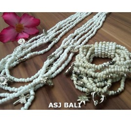 necklaces bracelets beads sets stretching charm white