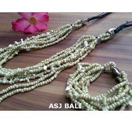 necklaces bracelets set of beaded stone multiple strand beige