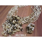 necklaces rings set beads stone pendant single beige