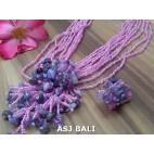 necklaces rings set beads stone pendant single hot pink