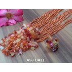 necklaces rings set beads stone pendant single orange
