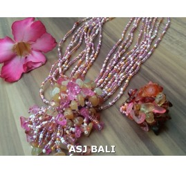 necklace rings set beads stone pendant single pink