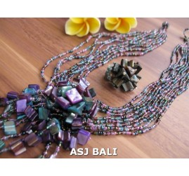necklaces rings set beads stone pendant single purple