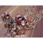 necklaces rings set beads stone pendant single red glass