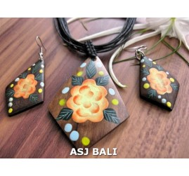 necklaces sets earrings sono wood hand painting leather strings bali