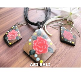 necklaces sets earrings wooden hand painting flower leather strings bali