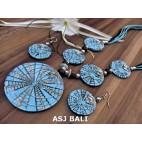 resin shell 5ball pendant necklaces sets earrings bali blue