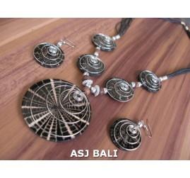 resin shells 5ball pendant necklaces sets earrings bali black