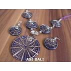 resin shells 5ball pendant necklaces sets earrings bali purple