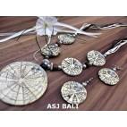 resin shell 5ball pendant necklaces sets earrings bali white