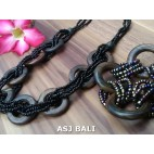 set necklaces bracelet beads with wood rings natural black