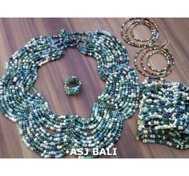 sets necklaces bracelet earring rings multiple seeds butterfly