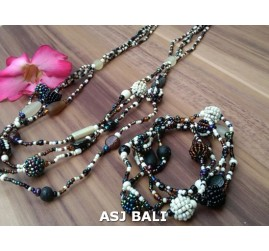 sets necklaces bracelets glass beads balls brown white
