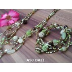 sets necklaces bracelets glass beads balls string green