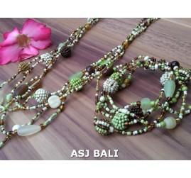 sets necklaces bracelets glass beads balls string green