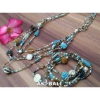 sets necklaces bracelets glass beads balls string mix color