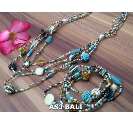 sets necklaces bracelets glass beads balls string mix color