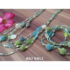 sets necklaces bracelets glass beads balls string mixed color