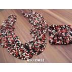 sets necklaces bracelet multiple seeds bead mix stretch butterfly