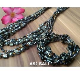 sets of necklaces bracelet beads seashells black golden