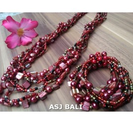 sets of necklaces bracelets bead seashells stretches red
