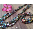sets of necklaces bracelets beads mix color seashells stretches