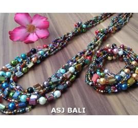 sets of necklaces bracelets beads mix color seashells stretches