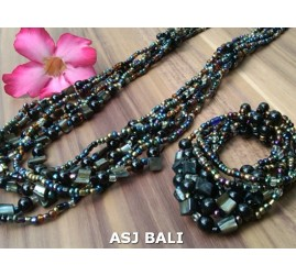 sets of necklaces bracelets beads seashells stretches black golden