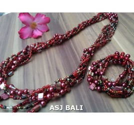 sets of necklaces bracelets beads seashells stretches red