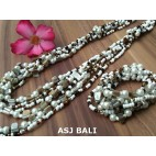 sets of necklaces bracelets beads seashells stretches white