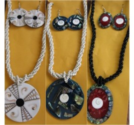 shells resin pendant beads sets necklaces earrings 3color