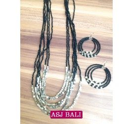 six strands necklaces beads sets earrings charms steels black