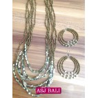 six strands necklaces beads sets earrings charms steels gold