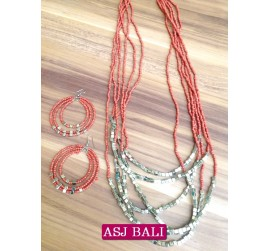 six strands necklaces beads sets earrings charms steels red