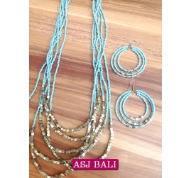 six strands necklaces beads sets earrings charms steels turquoise