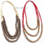 leather strings necklaces with stainless charms triple strand two color
