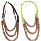 leather strings two color necklaces with stainless charms triple strand