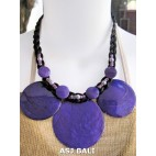 3coins shells capiz necklaces short purple