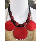 3coins shells capiz necklaces short red color
