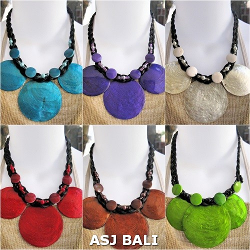 6color necklaces seashells capiz short solid color