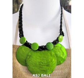 3coins shells necklaces short green color