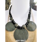 3coins shells necklaces short grey color