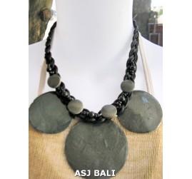 3coins shells necklaces short grey color