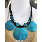 3coins shells necklaces short turquoise color