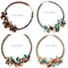 4color chokers necklaces beads with seashells flowers